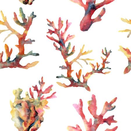 수채화 산호 원활한 패턴입니다. 손으로 흰색 배경에 고립 수 중 지점 장식 페인트. 열 대 바다 생활 그림입니다. 디자인, 인쇄 또는 배경.