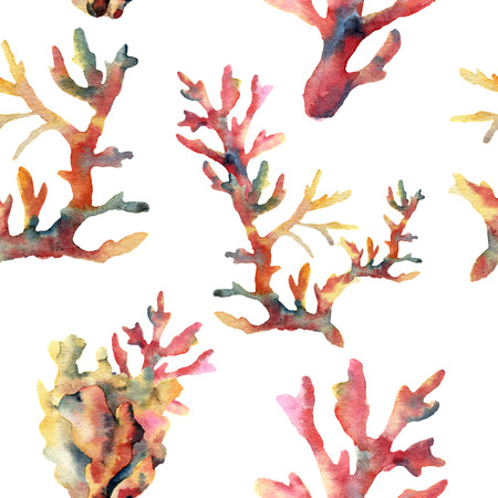 Watercolor coral seamless pattern. Hand painted ornament with underwater branches isolated on white background. Tropical sea life illustration. For design, print or background.