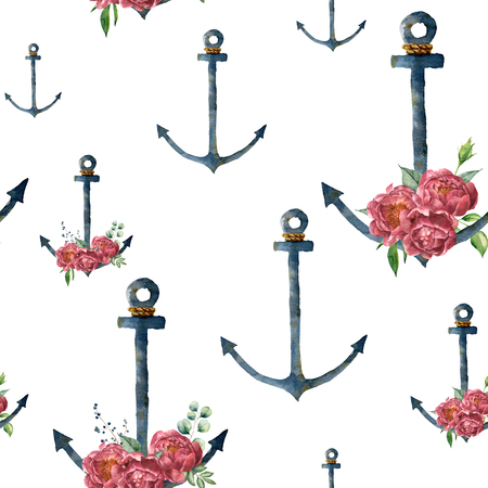 Watercolor pattern with anchor and peony flower. Hand painted vintage nautical illustration with floral decor isolated on white background. For design, print or background