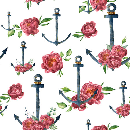 Watercolor pattern with vintage anchor and peony flower. Hand painted nautical illustration with floral decor isolated on white background. For design, print or background Stock fotó