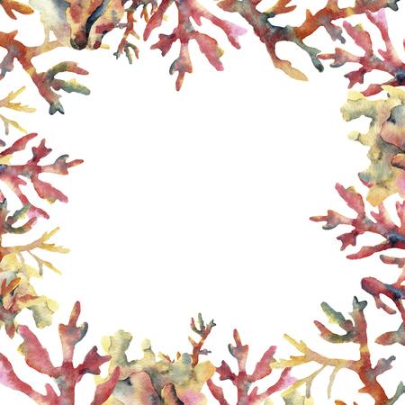 Tarjeta de coral acuarela. Marco subacuático pintado a mano con las ramas coralinas aisladas en el fondo blanco. Ilustración de la vida marina tropical. Para diseño, impresión o fondo. Foto de archivo - 80467255