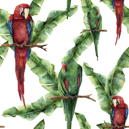 Watercolor seamless pattern with parrots and banana palm leaves. Hand painted red-and-green macaw and palm branch isolated on white background. Nature ornament with exotic tropical bird. For design.