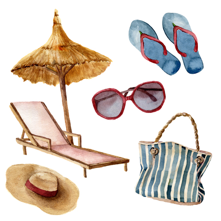 Watercolor summer beach set. Hand painted summer vacation objects: sunglasses, beach umbrella, beach chair, straw hat, beach bag and flip-flops. Tropical illustration isolated on white background Фото со стока