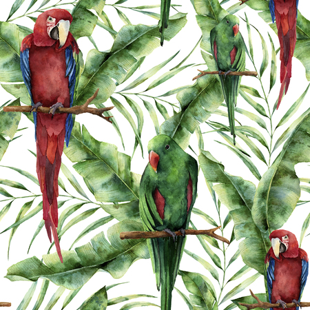 Watercolor seamless pattern with parrots, banana palm leaves and hibiscus. Hand painted red-and-green macaw, palm branch and flowers isolated on white background. Floral print with tropical bird. Banco de Imagens