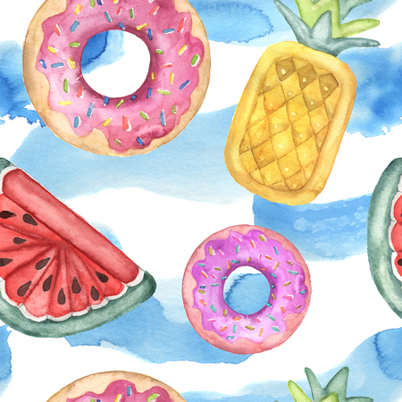 Watercolor seamless pattern with pool floats. Hand painted air toy and water isolated on white background. Donut, pineapple and watermelon toys. Vacation illustration. For design, print or background.