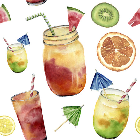 Watercolor pattern with tropicalcocktail, exotic fruit. Hand painted summer drink in jar, orange, kiwi and watermelon isolated on white background. Food illustration. For design or background