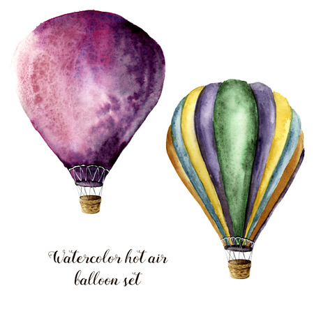 Watercolor hot air balloon set. Hand painted vintage air balloons with. Illustrations isolated on white background