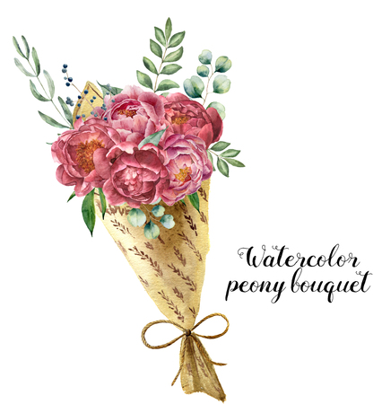 Watercolor peony bouquet with bow. Floral illustration with peony, berries and eucalyptus branches isolated on white background. Nature print for design or card.
