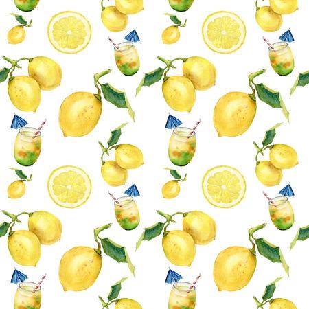 수채화 레모네이드 원활한 패턴입니다. 감귤 류의 andcocktail 장식 isolatedon 흰색 배경입니다. 디자인, 직물 또는 인쇄용 스톡 콘텐츠