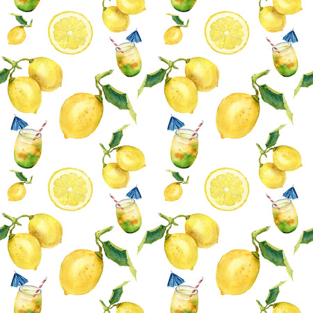 Watercolor lemonade seamless pattern. Citrus andcocktail ornament isolatedon white background. For design, fabric or print