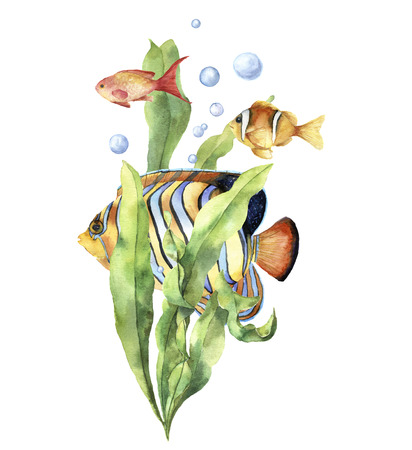 Watercolor aquarium card with fish. Hand painted underwater print with tropical fish, seaweed branch and air bubbles isolated on white background. Illustration for design, print or background