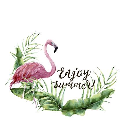 水彩画をお楽しみください夏の印刷。手描きの熱帯植物とフラミンゴの花夏カード。ヤシの木の葉と白い背景に分離されたエキゾチックな鳥のイラ