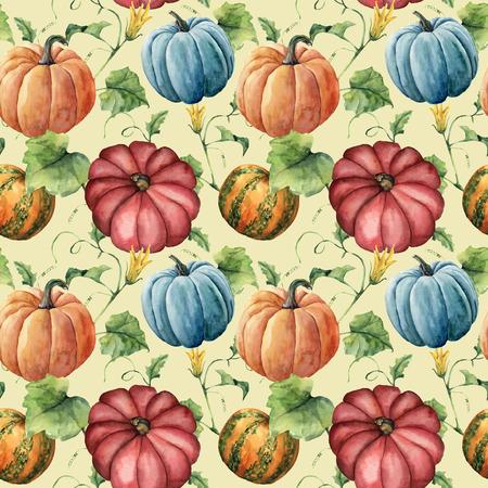 水彩カボチャ シームレス パターン。手描きで花、葉と枝のパステル調の背景に分離されたカボチャの飾りです。デザインと生地のための植物のイラ