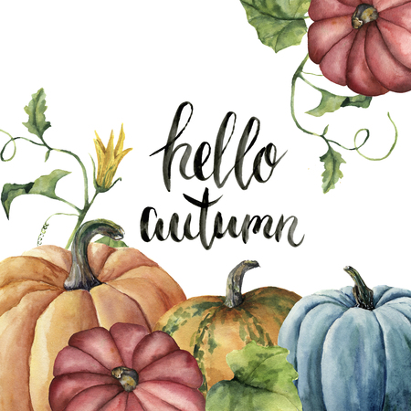 Watercolor Hello autumn lettering card with pumpkin. Hand painted pumpkin print with flower, leaves and branch isolated on white background. Botanical illustration for design or background.