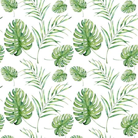 수채화 열 대 패턴 monstera와 팜 나뭇잎. 손으로 흰색 배경에 고립 된 이국적인 식물 지점 꽃 장식 그린. 디자인, 직물 또는 배경.