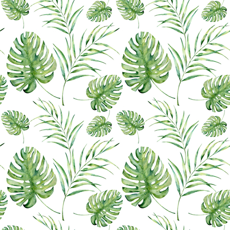 Watercolor tropical pattern with monstera and palm leaves. Hand painted floral ornament with exotic plant branch isolated on white background. For design, fabric or background. Фото со стока
