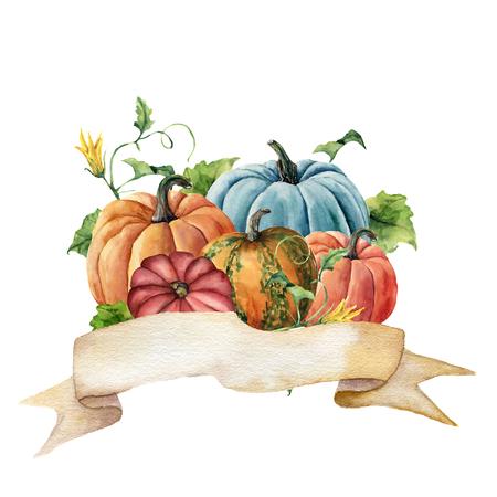 Aquarel herfst label. Handgeschilderde lint met heldere pompoenen met bladeren en bloemen geïsoleerd op een witte achtergrond. Botanische illustratie voor ontwerp.