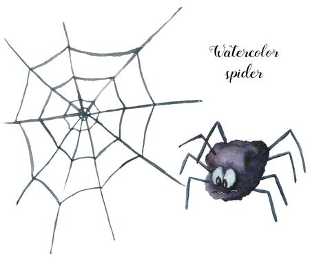 Aquarel spider. Handgeschilderde helloween illustratie geïsoleerd op een witte achtergrond. Magisch karakter met web voor ontwerp, afdruk of achtergrond Stockfoto