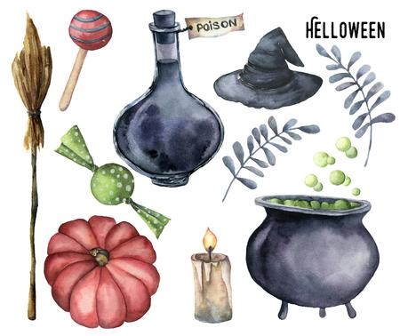 Watercolor helloween set. Handgeschilderde fles gift, ketel met potion, bezem, kaars, snoepjes, pompoen, heks hoed en bloemen tak geïsoleerd op een witte achtergrond. Vakantie illustratie