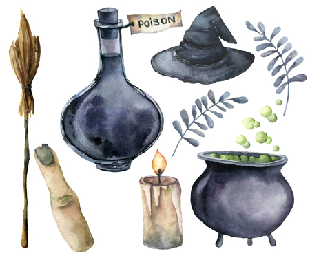 Watercolor helloween magic set. Hand painted bottle of poison, cauldron with potion, broom, candle, finger, witch hat and floral branch isolated on white background. Holiday illustration for design Stock Photo