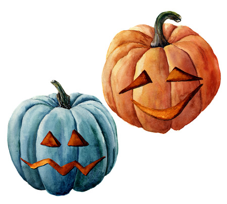 Watercolor helloween pumpkin. Hand painted carved faces pumpkins isolated on white background. Holiday illustration for design, print or background Stock Photo