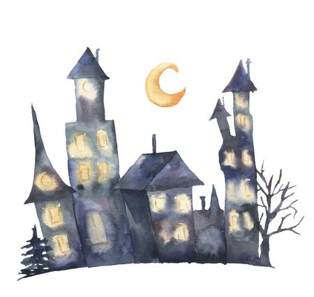 光る窓と月水彩城。手描きの白い背景に分離された魔法のハロウィン イラスト。デザイン、印刷または背景。夜の家。