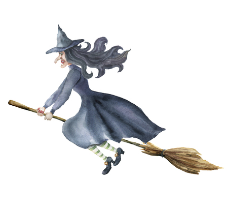 Watercolor witch. Hand painted magic character flying on broomstick. Helloween illustration isolated on white background. For design, print or background.