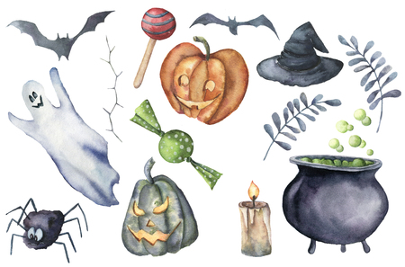 Watercolor helloween set. Hand painted bottle of poison, cauldron with potion, broom, candle, candies, pumpkin, witch hat and floral branch isolated on white background. Holiday illustration