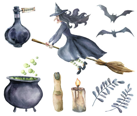 Watercolor magic set. Hand painted witch on broomstick, bottle of poison, cauldron with potion, broom, candle, finger, bats and floral branches isolated on white background. Halloween illustration