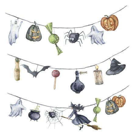 水彩のハロウィンのガーランド。手描きの白い背景で隔離のハロウィーンのシンボル。かぼちゃ、魔女、キャンディ、クモ、ゴースト、帽子、ポー