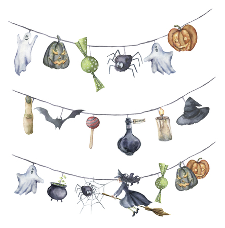 Watercolor Halloween garland. Hand painted Halloween symbols isolated on white background. Pumpkin, witch, candy, spider, ghost, hat, potion, cauldron, candle, finger. Holiday decor for design.