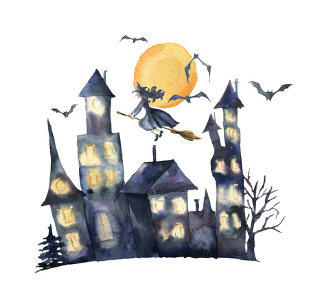 Watercolor Halloween card. Hand painted Castle with glowing windows, bats and witch isolated on white background. Holiday print for design or background.