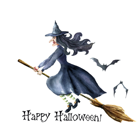Watercolor Happy Halloween card. Hand painted Hand painted bats and witch flying on broomstick. Halloween illustration isolated on white background. For design, print or background. Stok Fotoğraf - 84624936