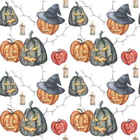 Watercolor Halloween Garland. Hand Painted Halloween Symbols.. Stock ...