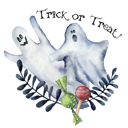 Watercolor Trick or treat card. Hand painted carved faces pumpkins with ghosts, candies and floral branch. Halloween illustration isolated on white background. For design, print or background.