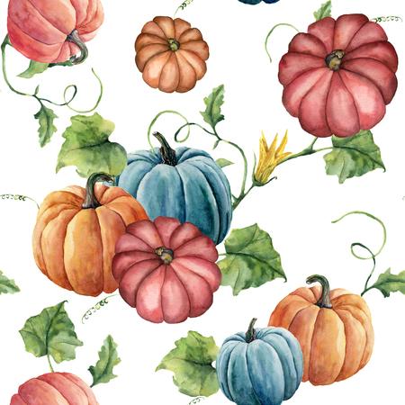 水彩明るいカボチャのシームレスなパターン。手描きの花、葉、白い背景で隔離の分岐でカボチャの飾り。デザインと生地のための植物のイラスト