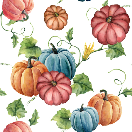 Watercolor bright pumpkin seamless pattern. Hand painted pumpkin ornament with flower, leaves and branch isolated on white background. Botanical illustration for design and fabric. Halloween print. Stock Photo