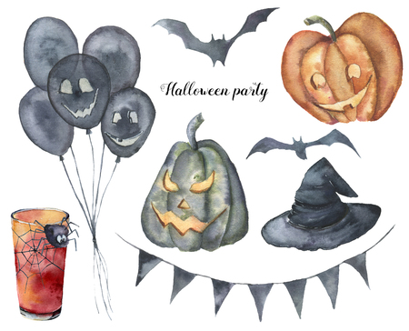 Watercolor Halloween party set. Hand painted dark hot air balloons, flag garland, cocktail with web and spider, bats, pumpkins wirh face, witch hat. Holiday illustration for design, invitation.