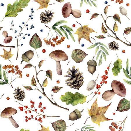 Aquarel herfst bos patroon. Handgeschilderde paddestoel, rowan, bladeren vallen, vertakking van de beslissingsstructuur, dennenappel, bessen en acorn geïsoleerd op een witte achtergrond. Aardillustratie voor ontwerp.