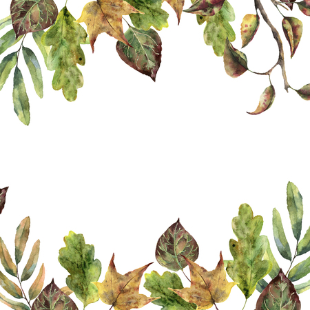Watercolor autumn frame with fall leaves. Hand painted leaves and tree branch isolated on white background. Seasonal border for design.