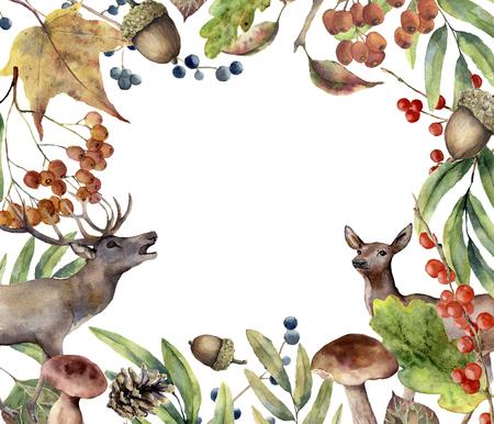 Aquarel herfst bos frame. Handgeschilderde bloemen frame met herten, rowan, champignons, bessen, acorn, dennenappel, val bladeren geïsoleerd op een witte achtergrond. Bosrand voor ontwerp. Botanische print. Stockfoto - 85330440