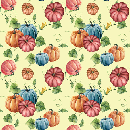 Watercolor pumpkin seamless pattern. Hand painted bright pumpkin ornament with flower, leaves and branch isolated on yellow background. Botanical illustration for design and fabric. Halloween print.