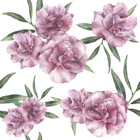 Watercolor seamless pattern with oleander. Hand painted oleander flowers with leaves and branch isolated on white background. Botanical ornament for design, print, fabric.