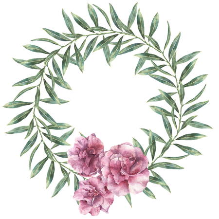 Watercolor floral wreath. Hand painted border with oleander flowers with leaves and branch isolated on white background. Botanical illustration for design, print, fabric.