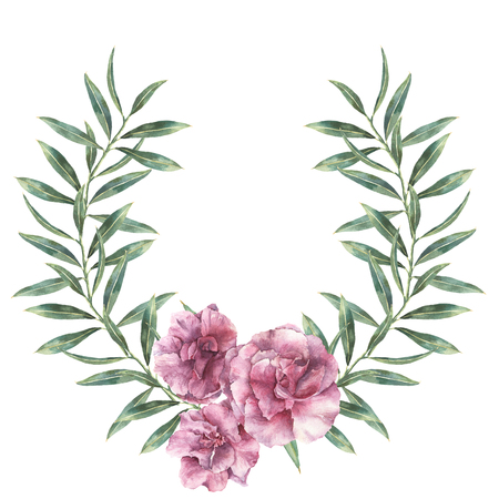 Watercolor floral border. Hand painted wreath with oleander flowers with leaves and branch isolated on white background. Botanical illustration for design, print, fabric.