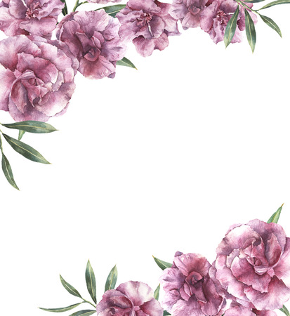 Watercolor floral invitation. Hand painted border with oleander flowers with leaves and branch isolated on white background. Botanical illustration for design, print, fabric. Stock Photo