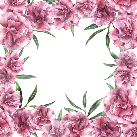 Watercolor floral tropic card. Hand painted border with oleander flowers with leaves and branch isolated on white background. Botanical illustration for design, print, fabric. Stock Photo