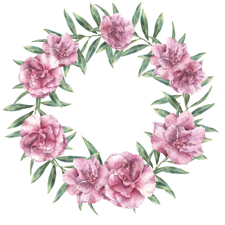 Watercolor floral exotic wreath. Hand painted border with oleander flowers with leaves and branch isolated on white background. Botanical illustration for design, print, fabric.
