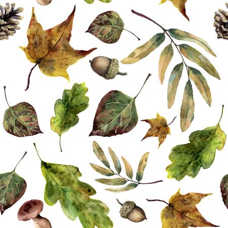수채화 원활한 패턴 이을 단풍. 손으로 그린 노란색 단풍, 버섯, 소나무 콘, 도토리 흰색 배경에 고립. 스톡 콘텐츠