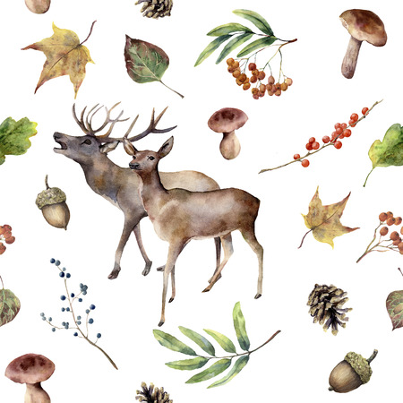 Watercolor autumn forest pattern. Hand painted floral frame with deers, rowan, mushrooms, berries,acorn, pine cone, fall leaves isolated on white background. Forest ornament for design. Botanic print. Banco de Imagens